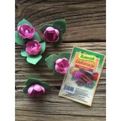 Dekoracje waflowe róża angielska pączek z listkiem amarantowa