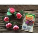 Dekoracje róża angielska pączek z listkiem różowa
