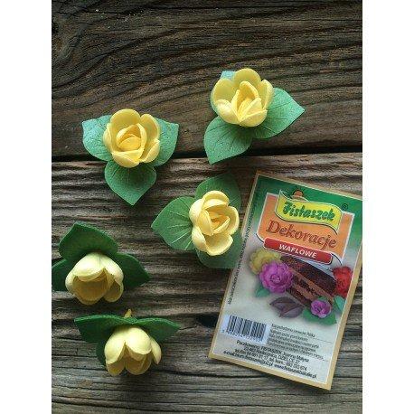 Dekoracje róża angielska pączek z listkiem żółta