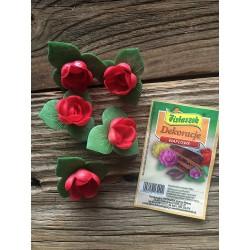 Dekoracje róża angielska pączek z listkiem czerwona